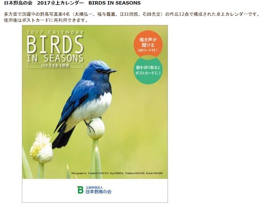 野鳥の会 卓上カレンダー 見て オリジナルカレンダーに挑戦